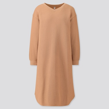 WOMEN WAFFLE V-NECK LONG-SLEEVE DRESS, BEIGE, medium