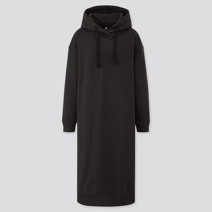 Women Sweat Hooded Long-Sleeve Long Dress, Black, Large