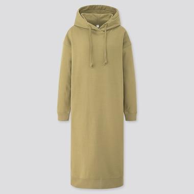 Women Sweat Hooded Long-Sleeve Long Dress, Green, Medium