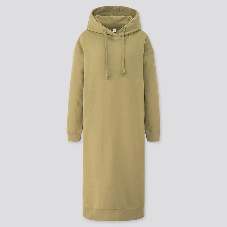 Women Sweat Hooded Long-Sleeve Long Dress, Green, Large