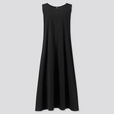 Women Mercerized Cotton V-Neck A-Line Long Dress (Online Exclusive), Black, Medium