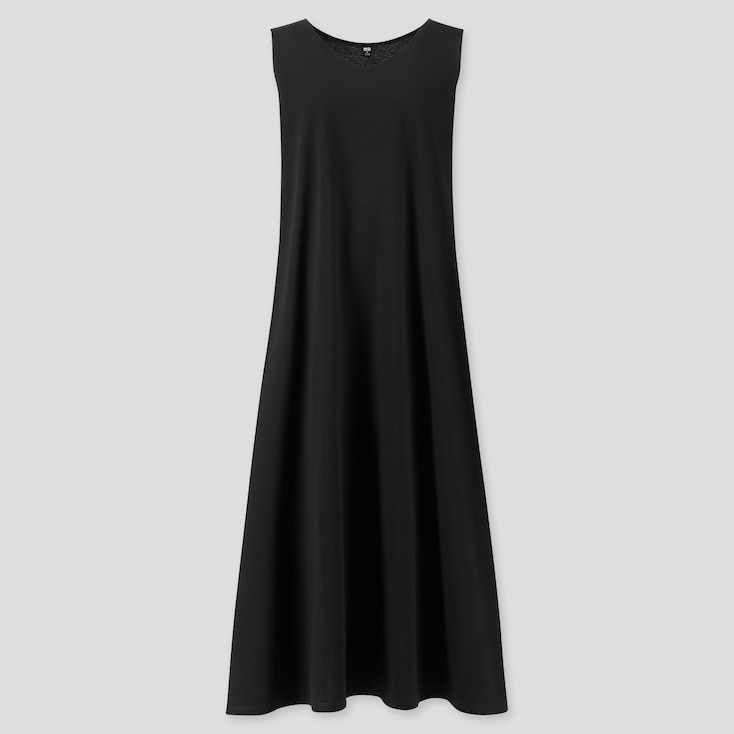 Women Mercerized Cotton V-Neck A-Line Long Dress (Online Exclusive), Black, Large