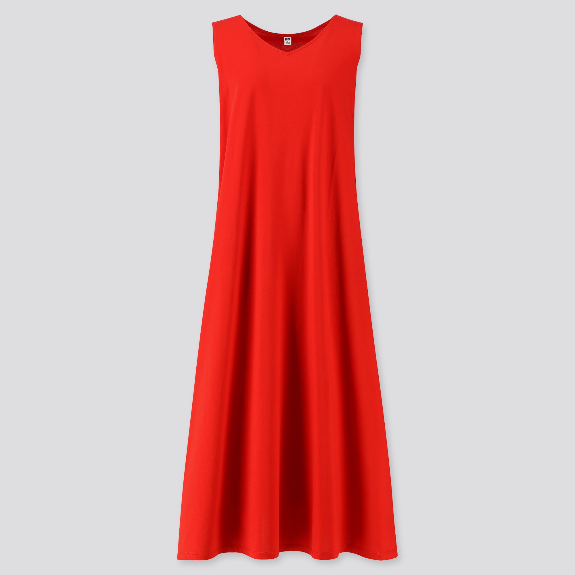 women mercerized cotton v-neck a-line long dress (online exclusive)