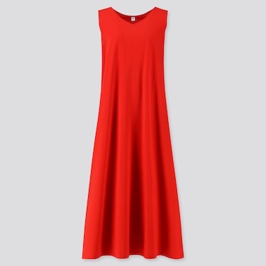 Women Mercerized Cotton V-Neck A-Line Long Dress (Online Exclusive), Red, Medium