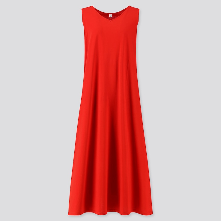 Women Mercerized Cotton V-Neck A-Line Long Dress (Online Exclusive), Red, Large