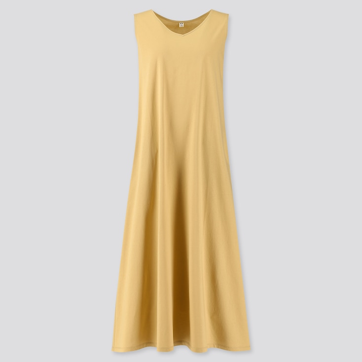 women mercerized cotton v-neck a-line long dress (online exclusive)