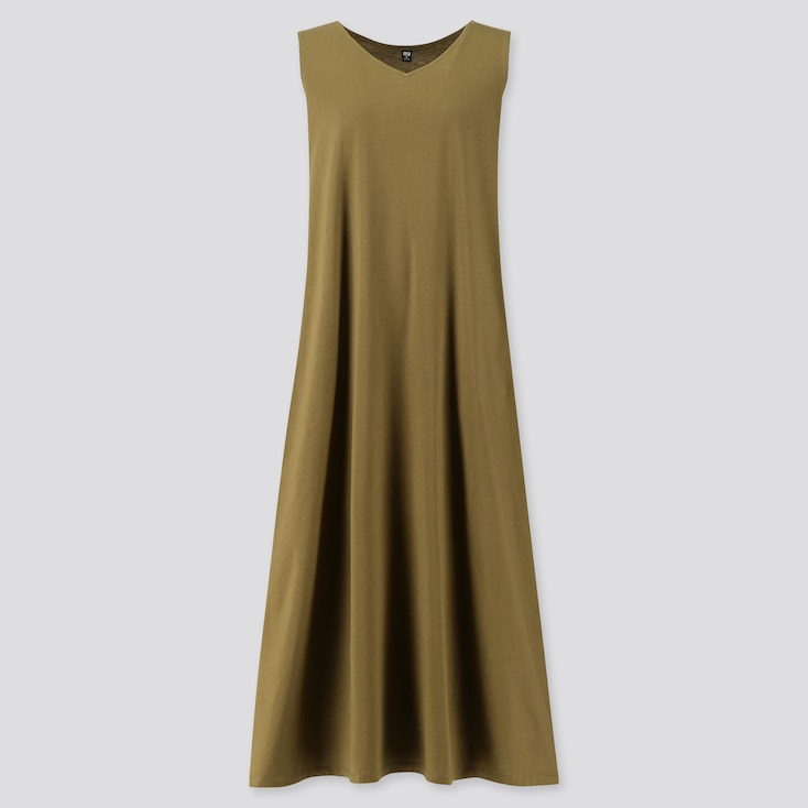 Women Mercerized Cotton V-Neck A-Line Long Dress (Online Exclusive), Olive, Large