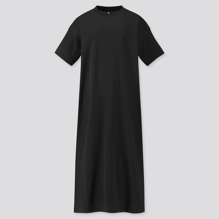 Women Mercerized Cotton Short-Sleeve Long T Dress, Black, Large