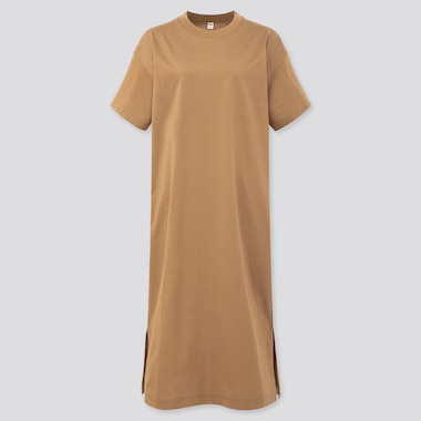 Women Mercerized Cotton Short-Sleeve Long Dress, Brown, Medium