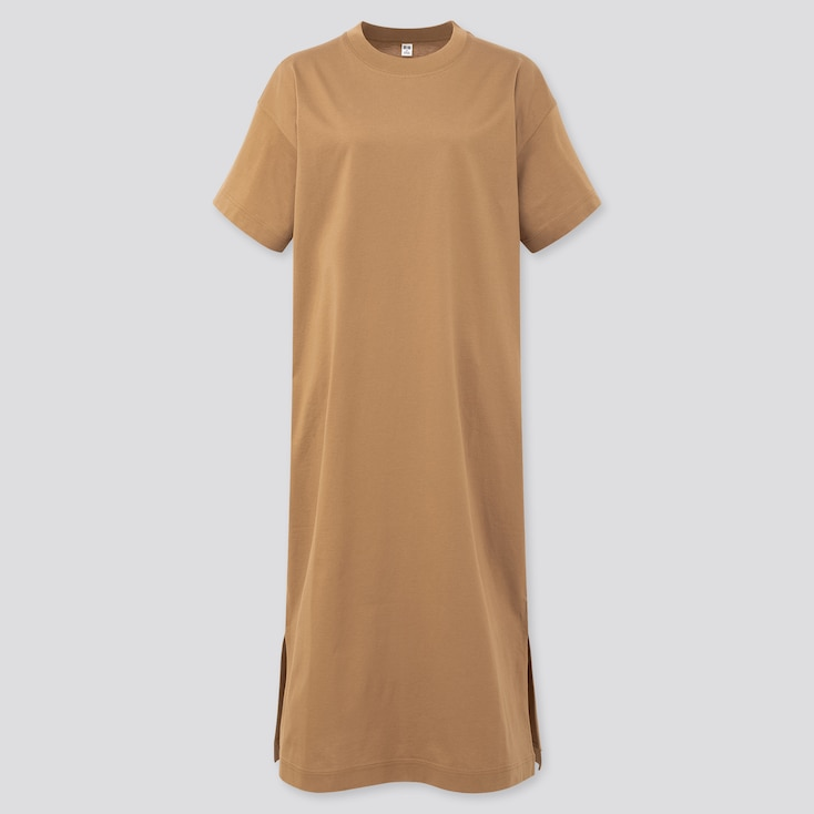 Women Mercerized Cotton Short-Sleeve Long T Dress, Brown, Large