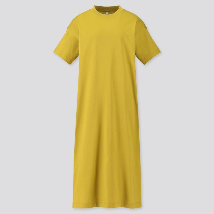 Women Mercerized Cotton Short-Sleeve Long T Dress, Green, Large