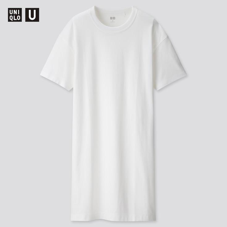 Women U Crew Neck Short-Sleeve T-Shirt Dress, White, Large