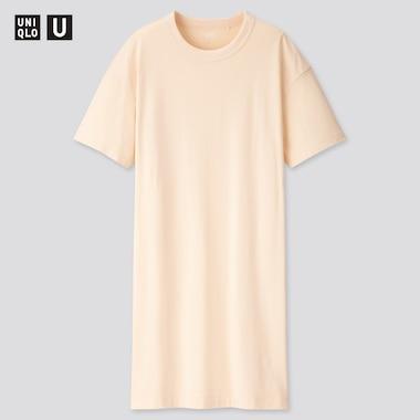 Women U Crew Neck Short-Sleeve T-Shirt Dress, Off White, Medium