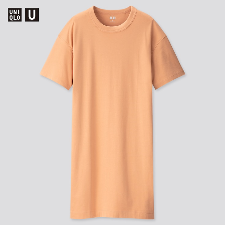 Women U Crew Neck Short-Sleeve T-Shirt Dress, Orange, Large