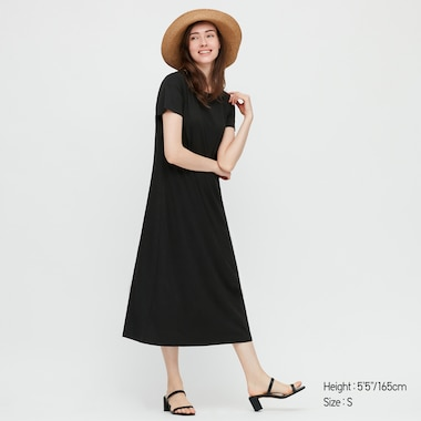 Women Short-Sleeve Long Bra Dress, Black, Medium