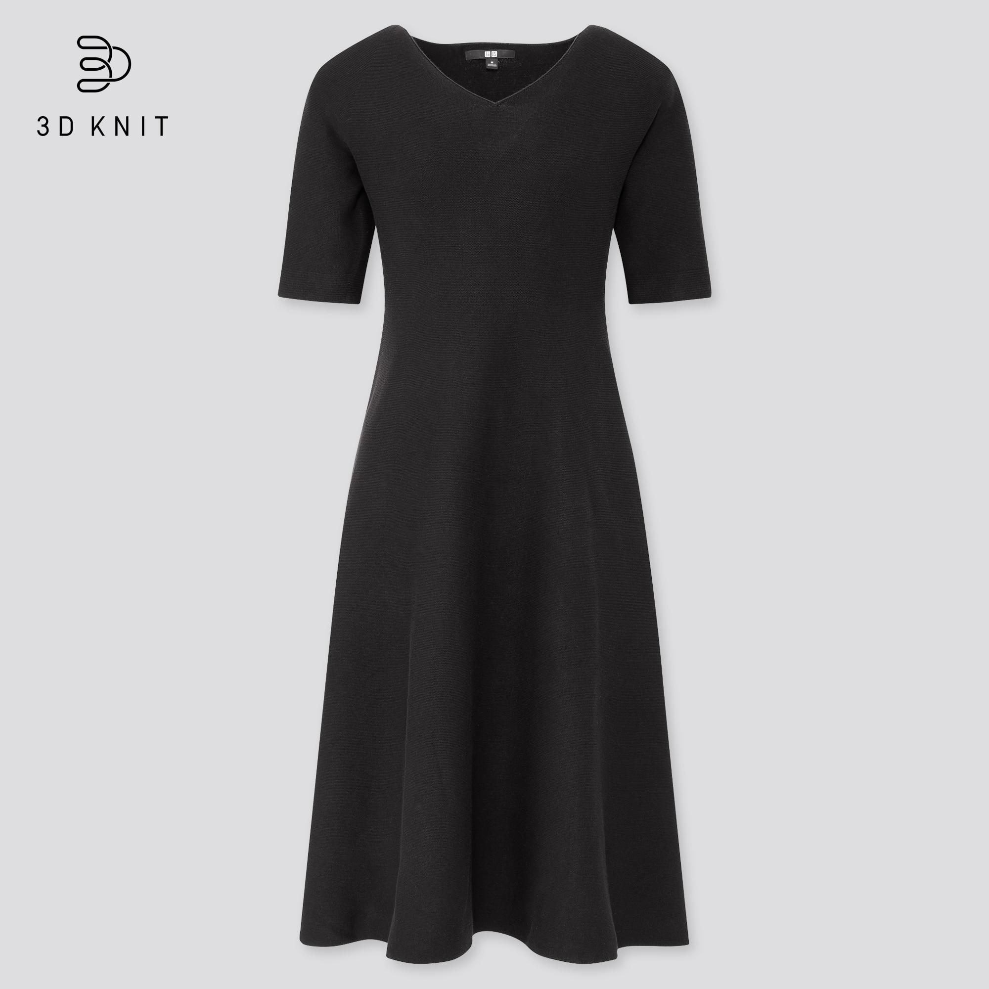 Women 3D Cotton Flared Short Sleeved Dress