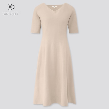 Women 3D Cotton Flared Short Sleeved Dress