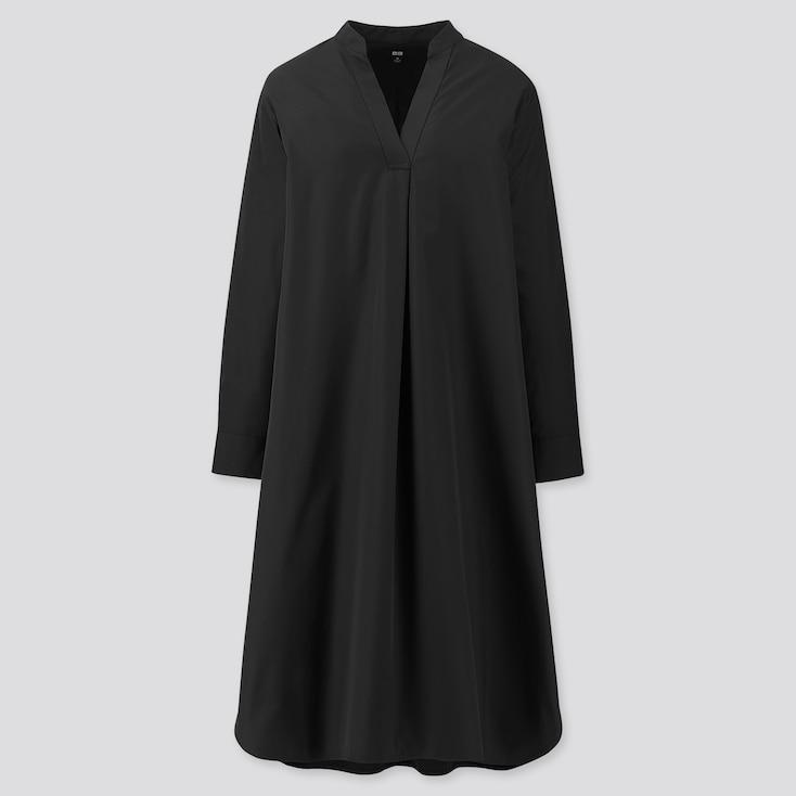 Women Extra Fine Cotton Split Neck A-Line Long-Sleeve Dress, Black, Large
