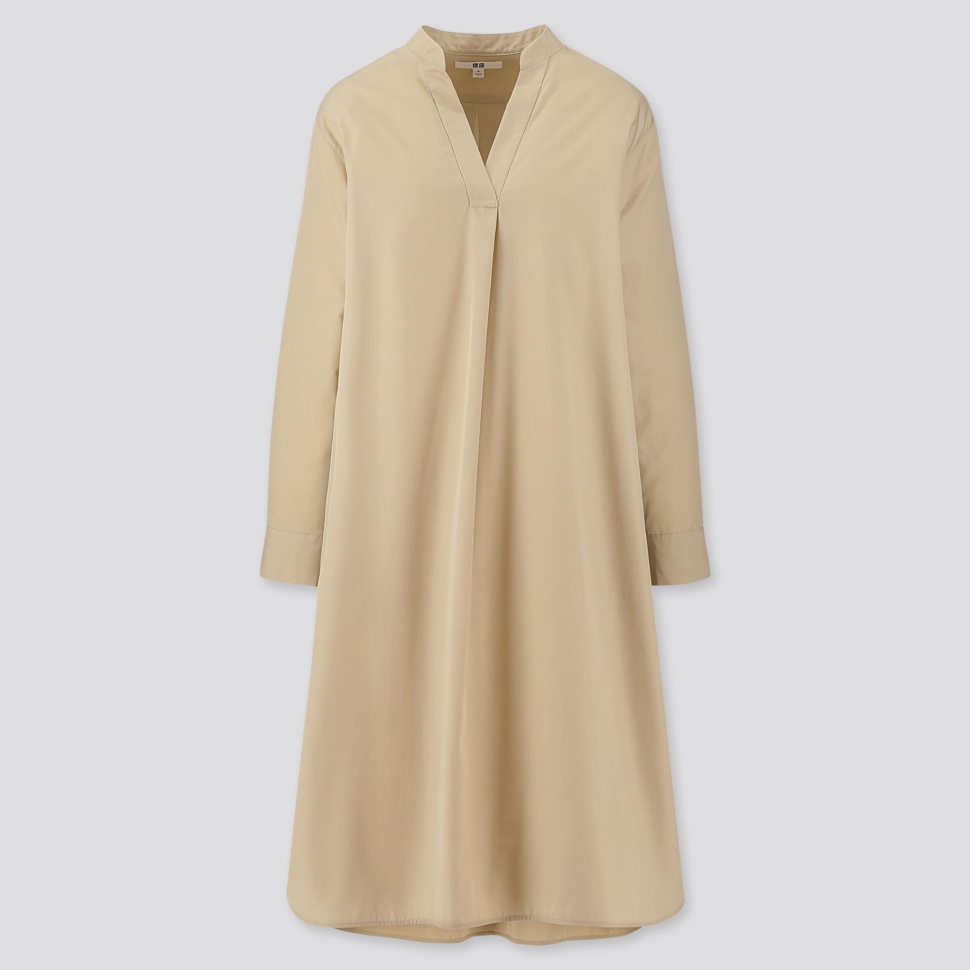 WOMEN EXTRA FINE COTTON SPLIT NECK A-LINE LONG-SLEEVE DRESS
