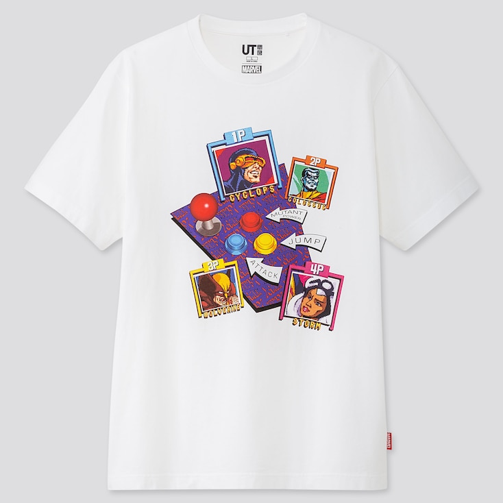 Marvel Retro Gaming Ut (Short-Sleeve Graphic T-Shirt), White, Large