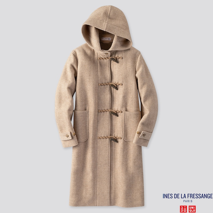 WOMEN WOOL-BLEND DUFFLE COAT (INES DE LA FRESSANGE), BEIGE, large