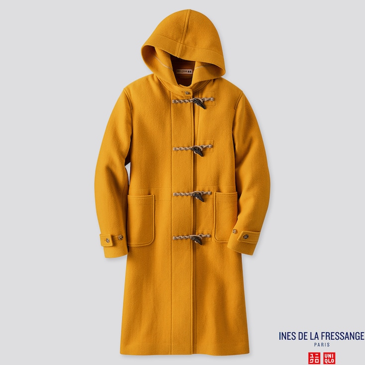 WOMEN WOOL-BLEND DUFFLE COAT (INES DE LA FRESSANGE), YELLOW, large