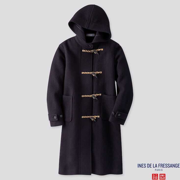 WOMEN WOOL-BLEND DUFFLE COAT (INES DE LA FRESSANGE), NAVY, large