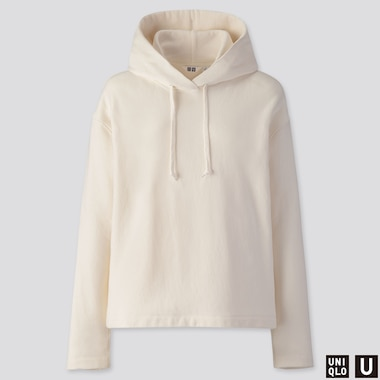 WOMEN U LONG-SLEEVE HOODED SWEATSHIRT, OFF WHITE, medium