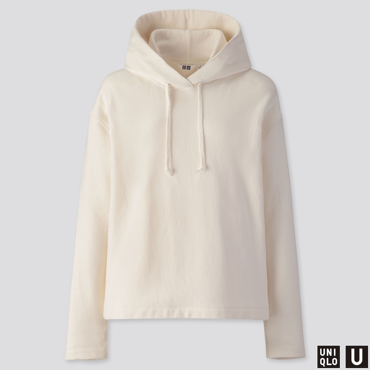 WOMEN U LONG-SLEEVE HOODED SWEATSHIRT, OFF WHITE, large
