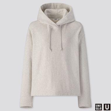 WOMEN U LONG-SLEEVE HOODED SWEATSHIRT, LIGHT GRAY, medium