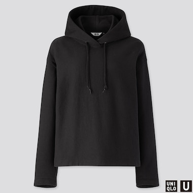WOMEN U LONG-SLEEVE HOODED SWEATSHIRT, BLACK, medium