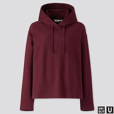 WOMEN U LONG-SLEEVE HOODED SWEATSHIRT, WINE, medium