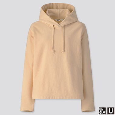 WOMEN U LONG-SLEEVE HOODED SWEATSHIRT, CREAM, medium