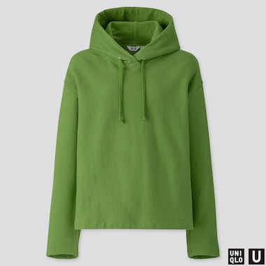 WOMEN U LONG-SLEEVE HOODED SWEATSHIRT, GREEN, medium