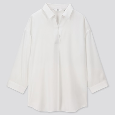 WOMEN RAYON SKIPPER COLLAR 3/4 SLEEVE BLOUSE, WHITE, medium