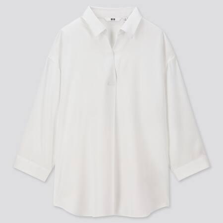Women Viscose Skipper Collar 3/4 Sleeved Blouse