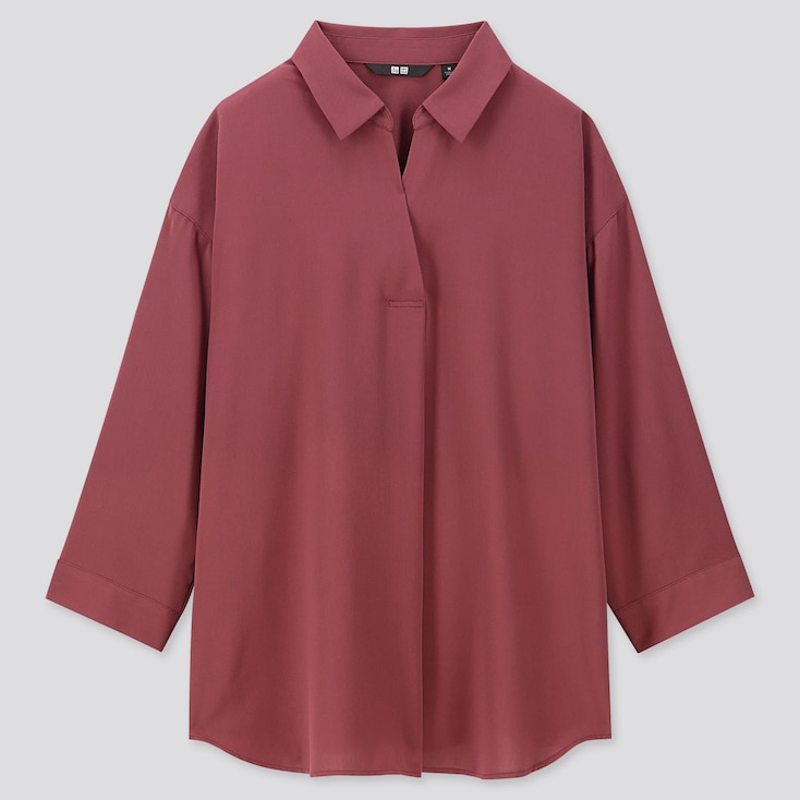 WOMEN RAYON SKIPPER COLLAR 3/4 SLEEVE BLOUSE, WINE, large