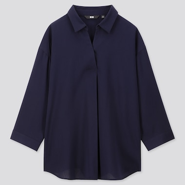 WOMEN RAYON SKIPPER COLLAR 3/4 SLEEVED BLOUSE