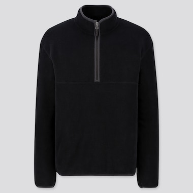 MEN FLEECE HALF-ZIP PULLOVER, BLACK, medium
