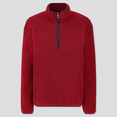 MEN FLEECE HALF-ZIP PULLOVER, RED, medium