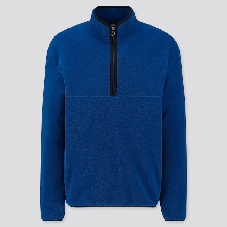 MEN FLEECE HALF-ZIP PULLOVER, BLUE, large