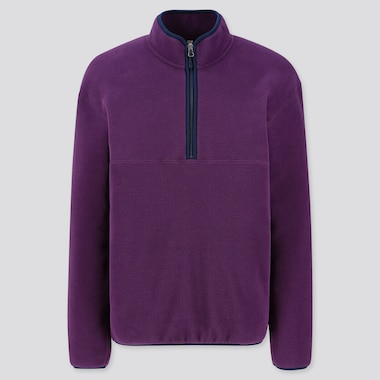 MEN FLEECE HALF-ZIP PULLOVER, PURPLE, medium