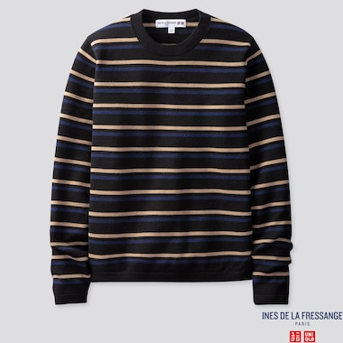 WOMEN EXTRA FINE MERINO STRIPE CREW NECK SWEATER (INES DE LA FRESSANGE), BLACK, medium