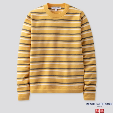 WOMEN EXTRA FINE MERINO STRIPE CREW NECK SWEATER (INES DE LA FRESSANGE), YELLOW, medium