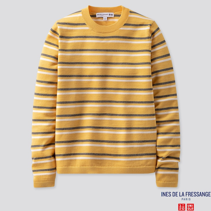 WOMEN EXTRA FINE MERINO STRIPE CREW NECK SWEATER (INES DE LA FRESSANGE), YELLOW, large