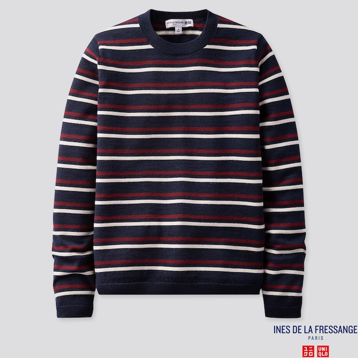 WOMEN EXTRA FINE MERINO STRIPE CREW NECK SWEATER (INES DE LA FRESSANGE), BLUE, large