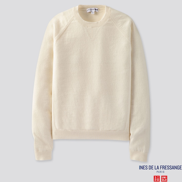 WOMEN CASHMERE CREW NECK SWEATER (INES DE LA FRESSANGE), OFF WHITE, large
