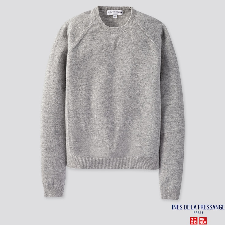 WOMEN CASHMERE CREW NECK SWEATER (INES DE LA FRESSANGE), LIGHT GRAY, large