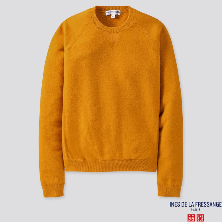 Women Cashmere Crew Neck Sweater (ines De La Fressange), Yellow, Large