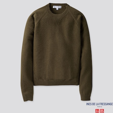 WOMEN CASHMERE CREW NECK SWEATER (INES DE LA FRESSANGE), OLIVE, medium